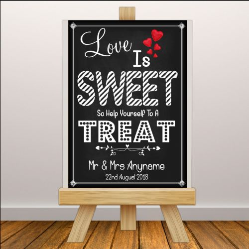 Personalised Vintage Wedding Sweet Cart Treats Sign Poster Banner - Chalkboard Style Print N109